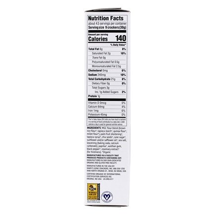 Marys organic sea salt nutritional facts